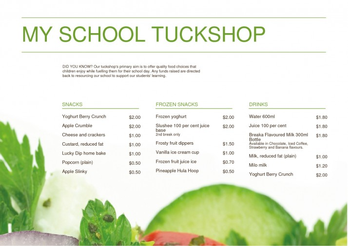 Emenu | Menu | My School Tuckshop 2.0