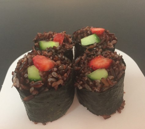 Black Rice with Strawberries and Asparagus